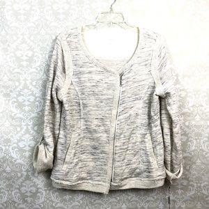🌞Calvin Klein Ivory Silver Marled Sweater